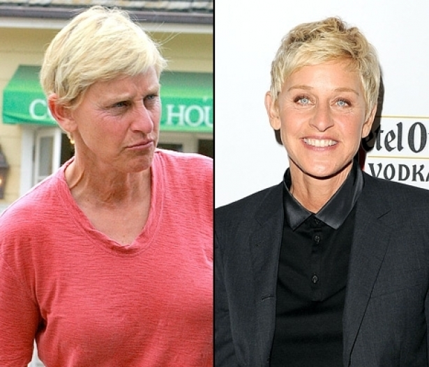 Ellen DeGeneres looking scary without makeup!
