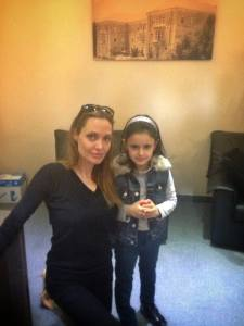Angelina with a little girl named Paola in Hotel Kadri, Zahle