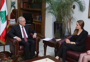 Angelina with President Michel Sleiman Monday afternoon